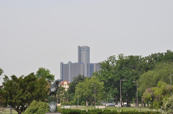 Beautiful downtown Detroit as seen from Belle Isle Park.